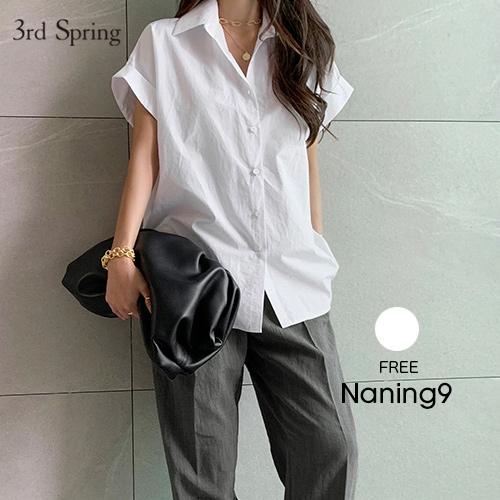 半袖 夏 襟付き オフィスカジュアル きれいめ 上品 NANING9 ナンニング ロールアップ半袖シャツ 新作 ファッション 韓国ファッション 上品レディース メール便 韓国 5 マート 6 8up_ka