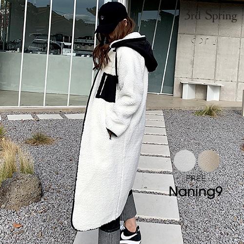 NANING9(ナンニング)リバーシブルロングボアコート【12/4up_go】【送料無料】韓国 韓国ファッション ロング丈 ボアコート リバーシブル ボアジャンパー カジュアル アウター 冬 ロングコート コート レディース ファッション【5】
