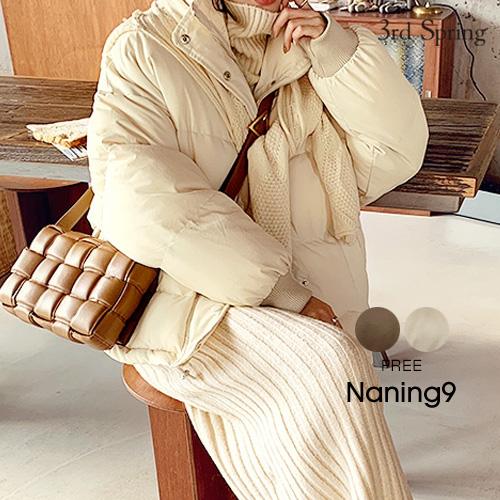 NANING9(ナンニング)ニットマフラー付ウェルロンジャケット【12/10up_go】【送料無料】韓国 韓国ファッション ダウンジャケット ブラウン コート カジュアル アウター 冬 パディングジャンパー 白 ボリュームアウター レディース ファッション【あす楽】