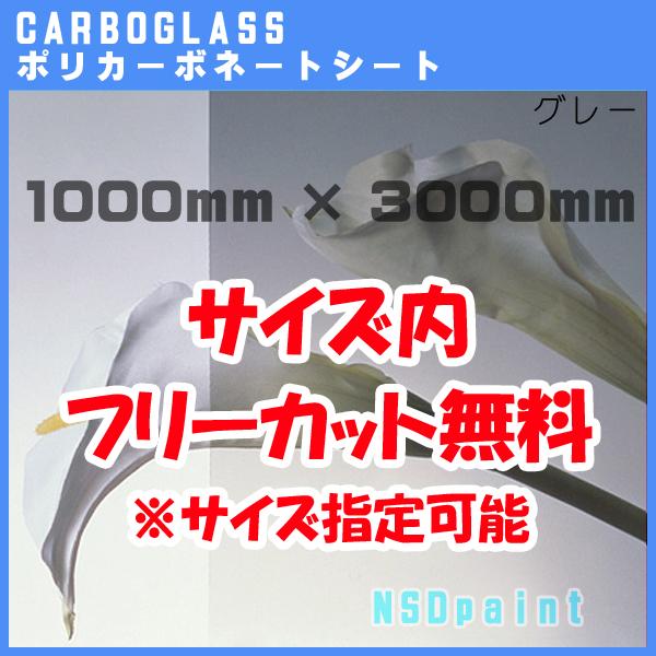 ポリカーボネート板 ポリッシュ グレー 5mm厚1000mm×3000mm[サイズ内に変更可能]カーボグラス【AGC】【送料無料】