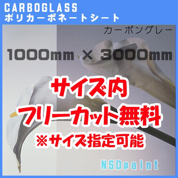 ポリカーボネート板 ポリッシュ カーボングレー 5mm厚1000mm×3000mm[サイズ内に変更可能]カーボグラス【AGC】【送料無料】