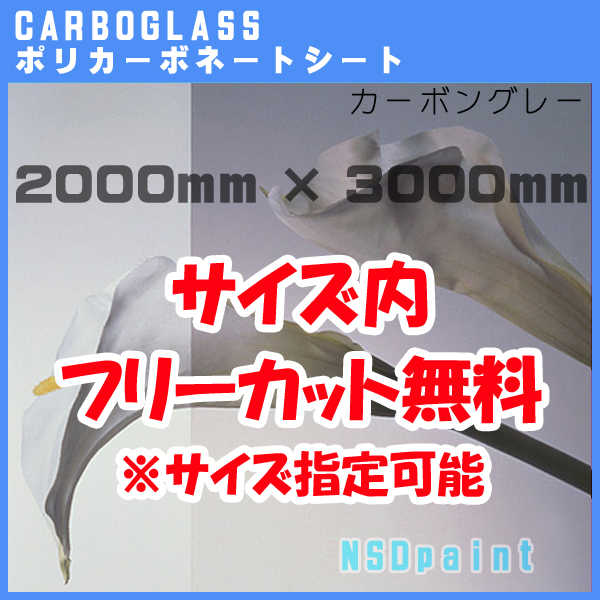 【AGC】ポリカーボネート板 カーボグラスポリッシュ カーボングレー 3mm厚2000mm×3000mm[サイズ内に変更可能]【送料無料】