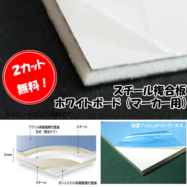 両面ホワイトボード板 マーカー用CKホワイトボードLite【2カット無料!】3mm厚910mm×2440mm スチール複合板【大型便】