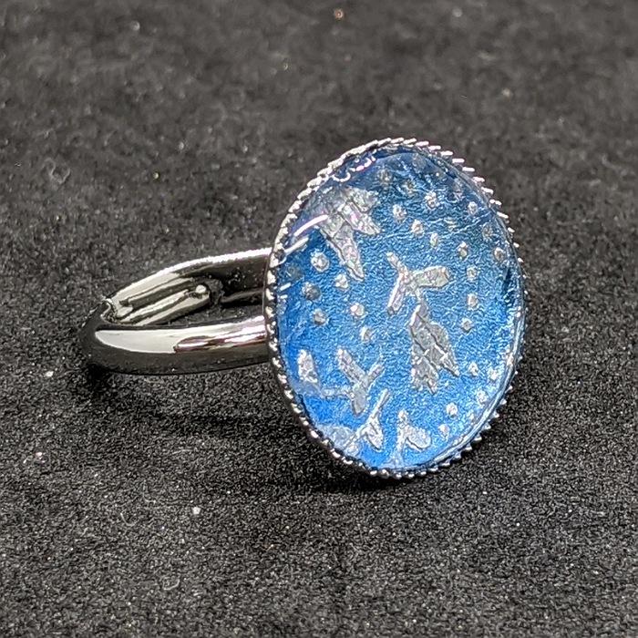 セール特別価格 着物職人手作り 無料 指輪 フリーサイズ :新橋色箔に鮫更紗小紋 銀ダイヤ箔使用