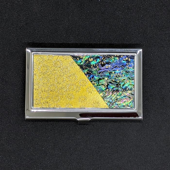 人気海外一番 数量限定アウトレット最安価格 着物職人手作り 名刺ケース:本ニュージーランドあわび黒螺鈿 金箔