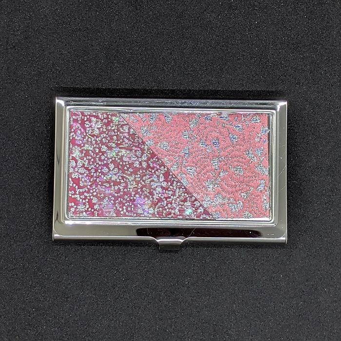 市場 着物職人手作り 名刺ケース:本あわび桃色螺鈿 気質アップ 桃色箔