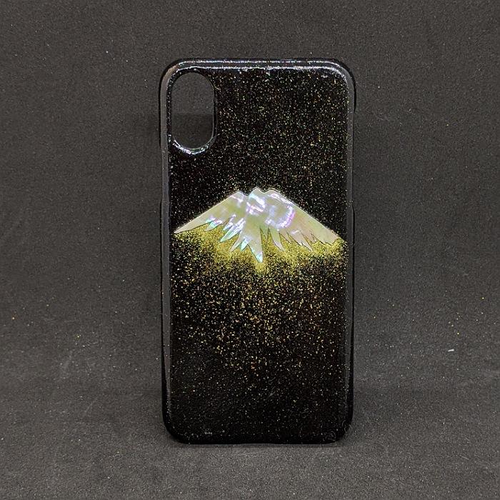 着物職人手作り 付与 使い勝手の良い iphoneXS用カバー:黒地に螺鈿富士山 金彩仕様