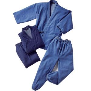 デニム作務衣 交換無料 同サイズ2色組 売店 パジャマや甚平代わりとしてもOK 作務衣 デニム生地 さむえ さむい ソフトブルーとインディゴブルー ジーンズ作務衣 綿100% 在庫あり 後払いもOK 男女兼用 レビューでプレゼント