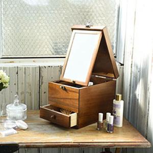 【国産木製コスメティックボックス L】■送料無料■日本製■ [木製 卓上 天然木 コスメボックス メイクボックス 化粧箱 化粧ボックス ドレッサー]