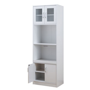 ■送料無料■ レンジ台 ホワイト 03827 【幅59cm たっぷり収納できるキッチンストッカー】