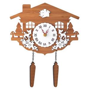 DECOYLAB(デコイラボ) 掛け時計 CUCKOO 鳩時計 【送料無料・保証付】 [壁掛け時計 外国製 バンブー時計 おしゃれウォールクロック カッコー時計 木製 ハンドメイド掛け時計]