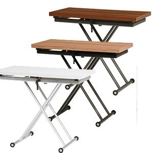 高さ調節&拡張テーブル 【送料無料】【エクステンション昇降テーブル KT-3195】 センターテーブル キャスター付き ダイニングテーブル ローテーブル