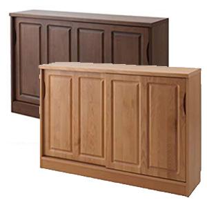【送料無料】完成品 キッチンカウンター下収納 引き戸 幅120cm 天然木アルダー材 キッチン収納棚