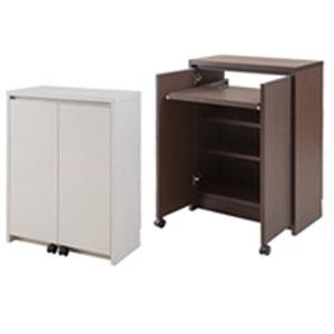 パソコンデスクとしても使えるキッチン収納棚【アルミ枠カウンター下収納 幅60cm デスク】の通販【送料無料】
