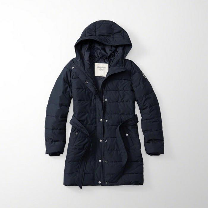 【新品】アバクロ【Womens】フード付ロングパファージャケット/Navy【Hooded Puffer Jacket】【Abercrombie&Fitch】【本物保証】【レディース】