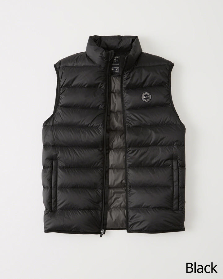 ◆【新品】アバクロ【Mensメンズ】ライトウェイトダウンベスト/Black【Packable Lightweight Puffer Vest】【Abercrombie&Fitch】【本物保証】
