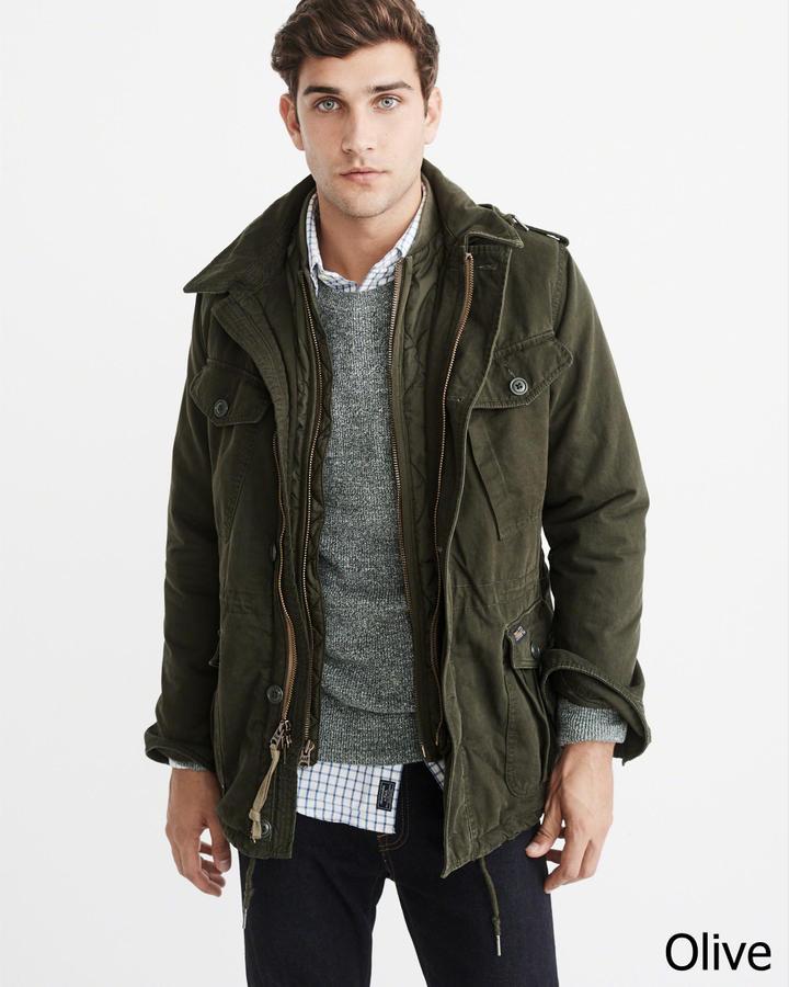 【新品】アバクロ【Mensメンズ】ミリタリーフィールドジャケット/Olive【Military Field Jacket】【Abercrombie&Fitch】【本物保証】