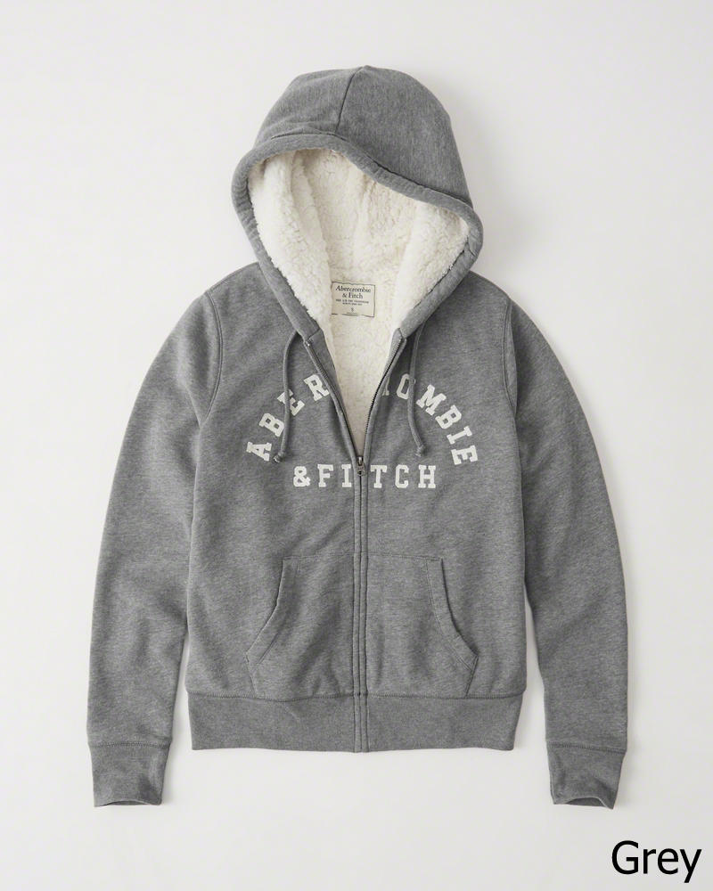 ◆【新品】アバクロ【Womens】シェルパ フードフリースジャケット/Grey【Logo Sherpa Hoodie 】【Abercrombie&Fitch】【本物保証】【レディース】
