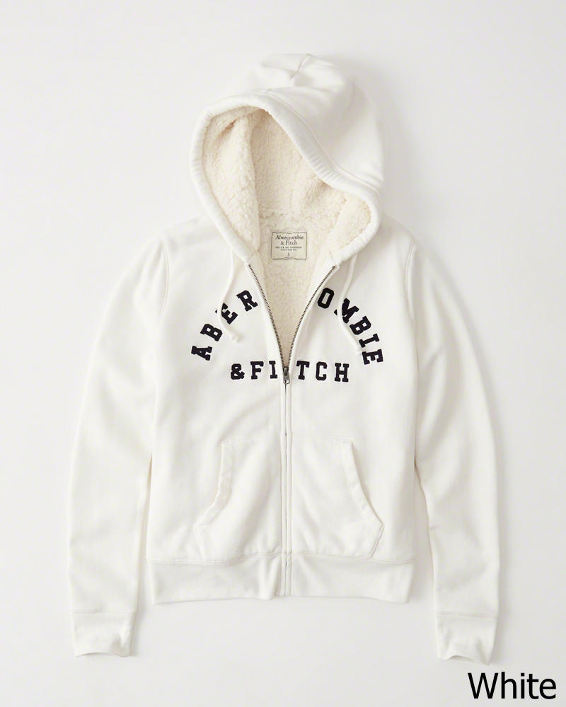 ◆【新品】アバクロ【Womens】シェルパ フードフリースジャケット/White【Logo Sherpa Hoodie 】【Abercrombie&Fitch】【本物保証】【レディース】