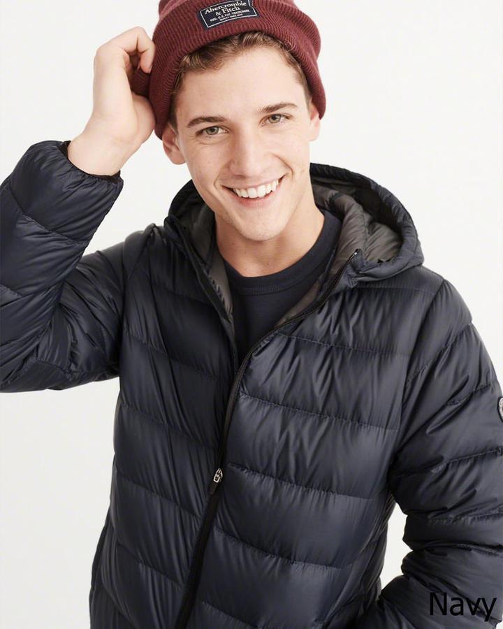 ◆【新品】アバクロ【Mensメンズ】軽量フーデッドダウンジャケット /Navy【Lightweight Hooded Puffer Jacket】【Abercrombie&Fitch】【本物保証】