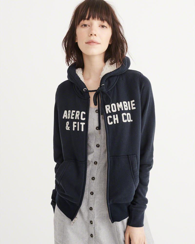 ◆【新品】アバクロ【Womens】裏ボアジップアップパーカー/Navy【Heritage Logo Sherpa Hoodie】【Abercrombie&Fitch】【本物保証】【レディース】