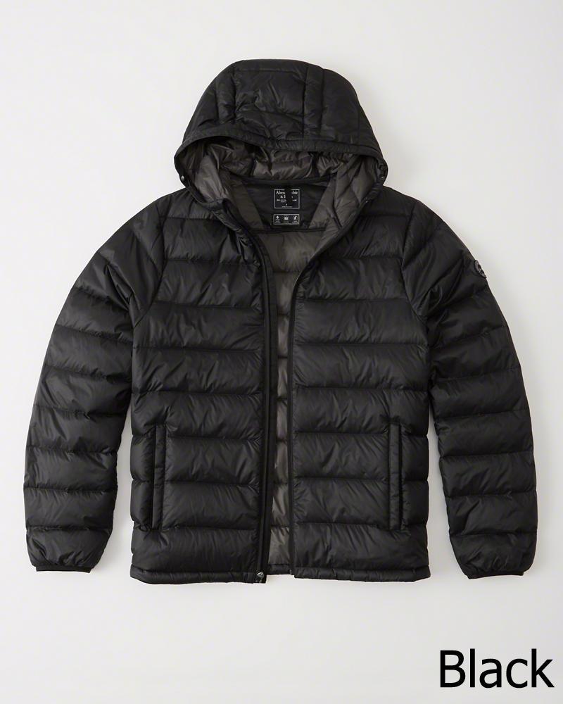 ◆【新品】アバクロ【Mensメンズ】軽量フーデッドダウンジャケット /Black【Lightweight Hooded Puffer Jacket】【Abercrombie&Fitch】【本物保証】