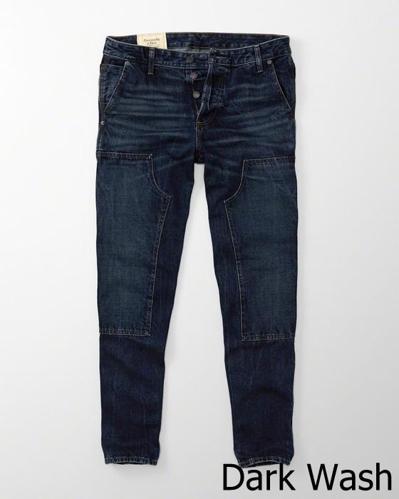 【新品】【日本未発売】アバクロ【Mensメンズ】ダブルニー カーペンタージーンズ【Dark Wash】【Carpenter Jeans】【Relaxed Taper】【デニム】【Abercrombie&Fitch】【本物保証】