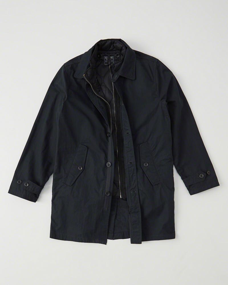 ◆【新品】アバクロ【Mensメンズ】2Way キルティングベスト+トレンチコート/Navy【2-in-1 Lightweight Jacket】【Abercrombie&Fitch】【本物保証】