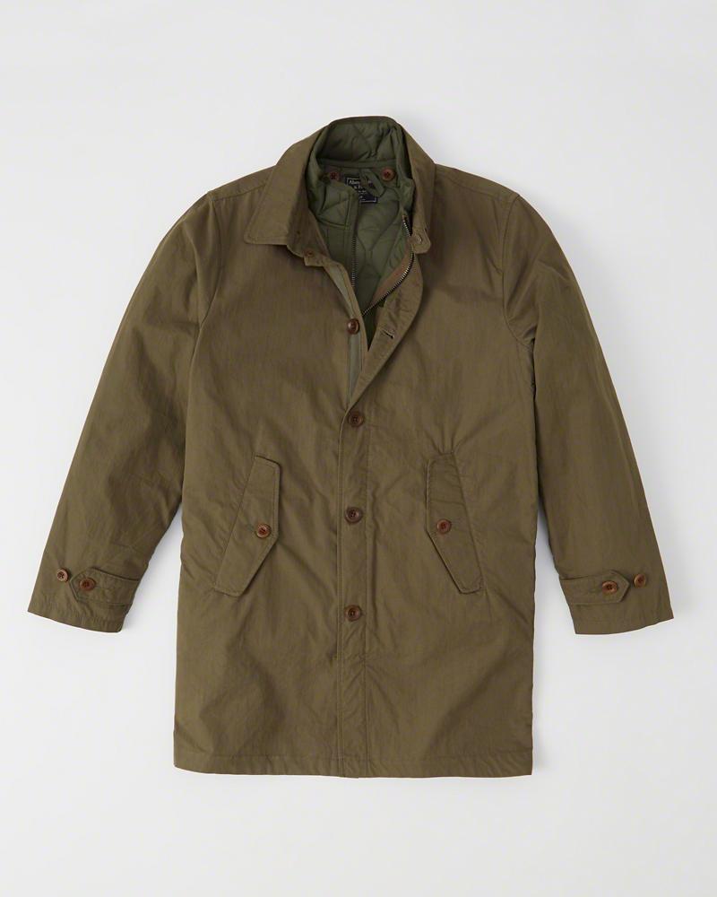 ◆【新品】アバクロ【Mensメンズ】2Way キルティングベスト+トレンチコート/Olive【2-in-1 Lightweight Jacket】【Abercrombie&Fitch】【本物保証】