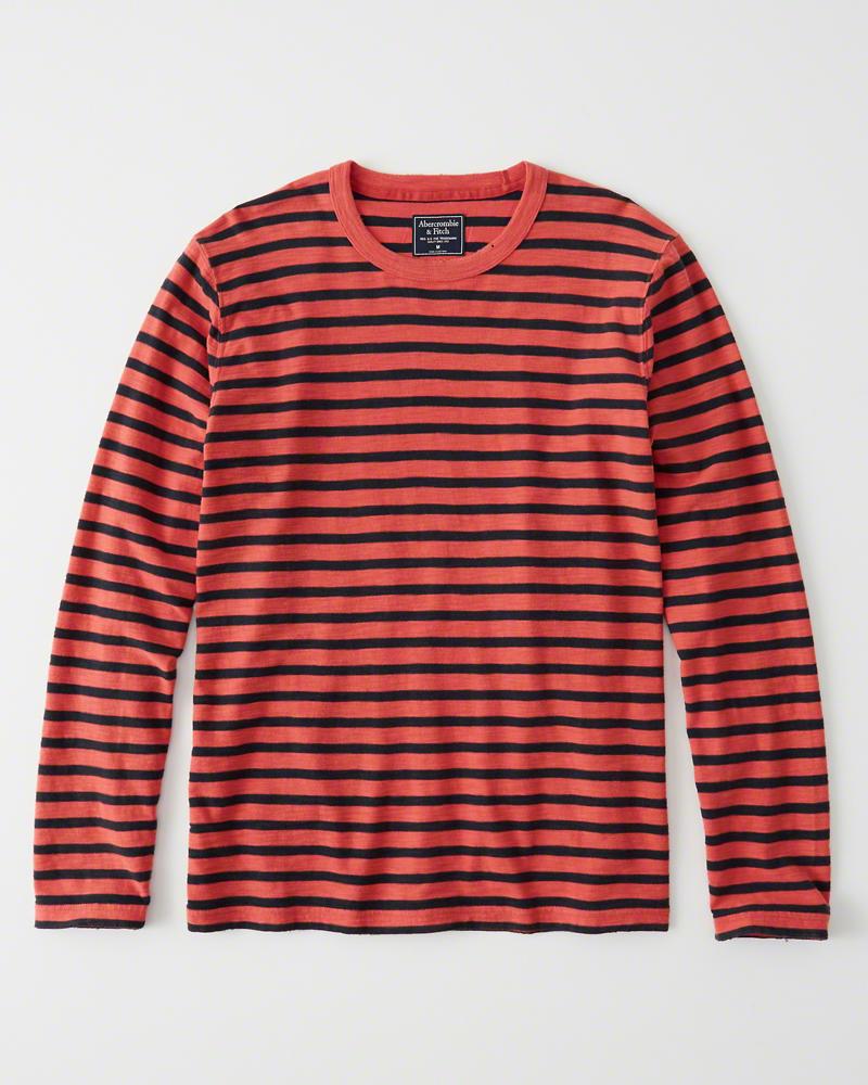 正規直営店より直接買い付け Abercrombie Fitch アバクロンビー フィッチ 公式サイト サンフェード ボーダーTシャツ ロンT Red Sunfaded Crew 新品 Stripe 卓抜 Tee メンズ