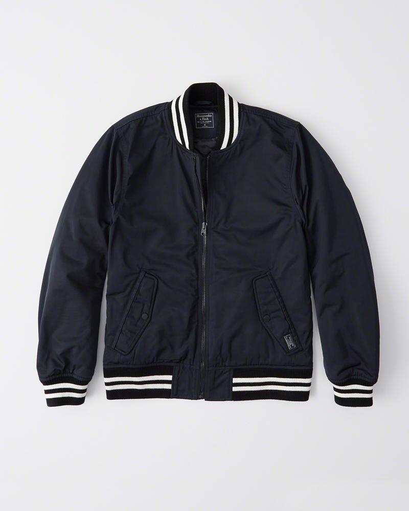 【新品】アバクロ【Mensメンズ】バーシティーボンバージャケット/Navy Blue【Varsity Bomber Jacket】【Abercrombie&Fitch】【本物保証】