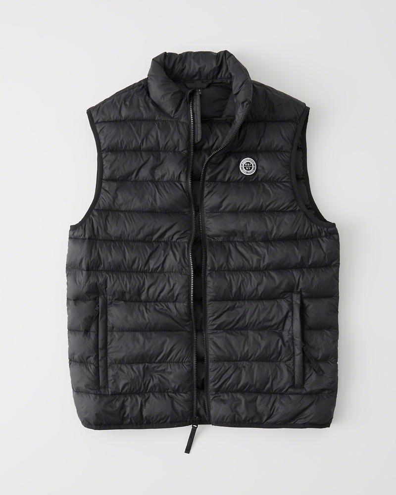 【新品】アバクロ【Mensメンズ】パッカブル パファー ベスト/Black【Packable Puffer Vest】【Abercrombie&Fitch】【本物保証】