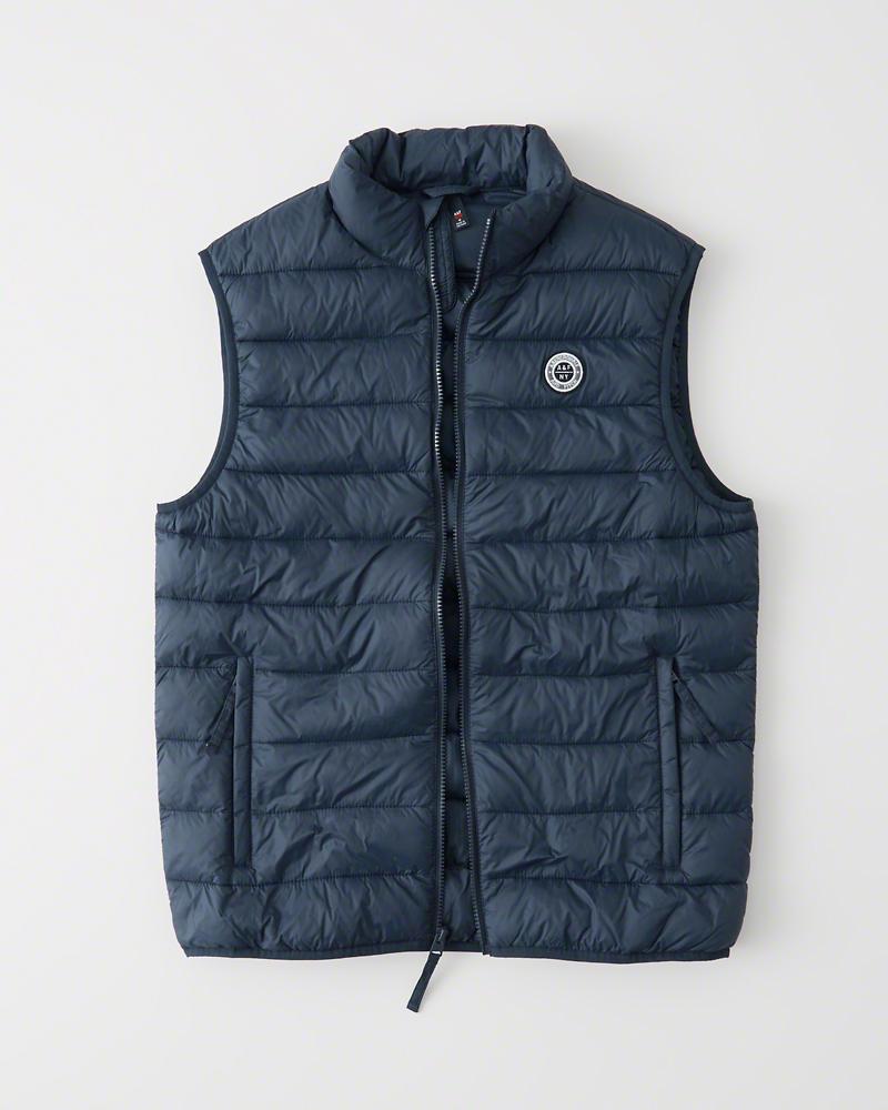 【新品】アバクロ【Mensメンズ】パッカブル パファー ベスト/Navy Blue【Packable Puffer Vest】【Abercrombie&Fitch】【本物保証】