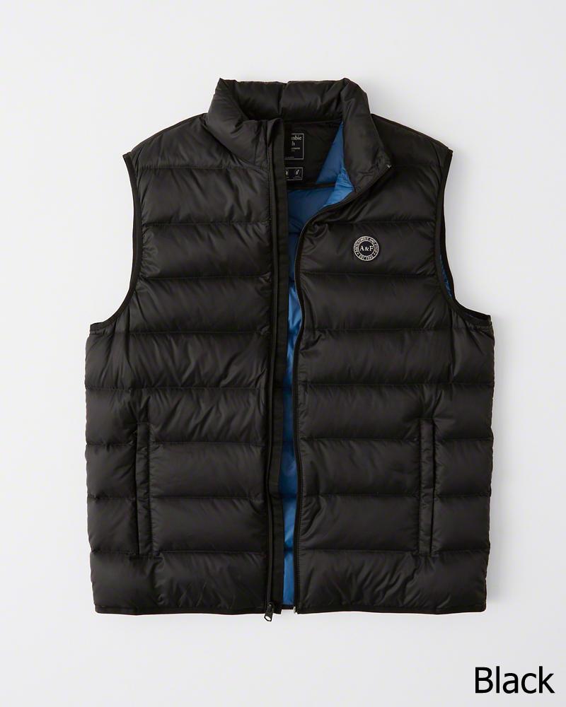 【新品】アバクロ【Mensメンズ】ライトウエイト パッカブル パファー ベスト/Black【Lightweight Down-Filled Packable Puffer Vest】【Abercrombie&Fitch】【本物保証】