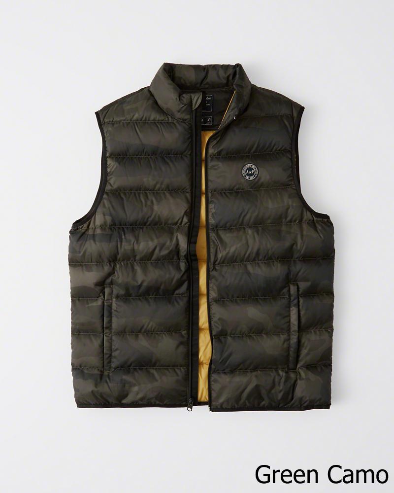 【新品】アバクロ【Mensメンズ】ライトウエイト パッカブル パファー ベスト/Green Camo【Lightweight Down-Filled Packable Puffer Vest】【Abercrombie&Fitch】【本物保証】