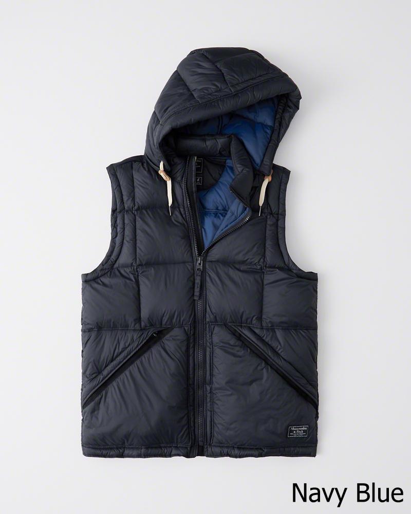 【新品】アバクロ【Mensメンズ】フード取り外し可能ダウンベスト/Navy【Down-Filled Puffer Vest】【Abercrombie&Fitch】【本物保証】