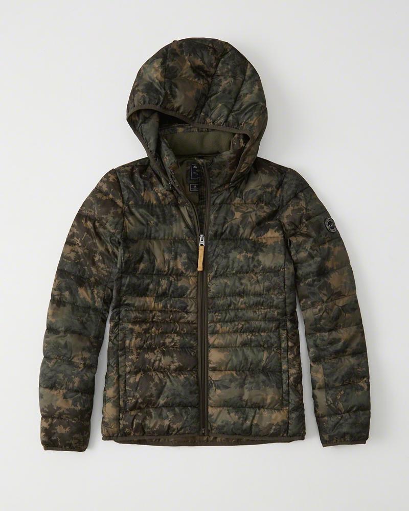 Abercrombie&Fitch (アバクロンビー&フィッチ) 正規品 フード取り外し可能 ライトウェイト パファージャケット (Lightweight Puffer Jacket) レディース (Green Camo) 新品