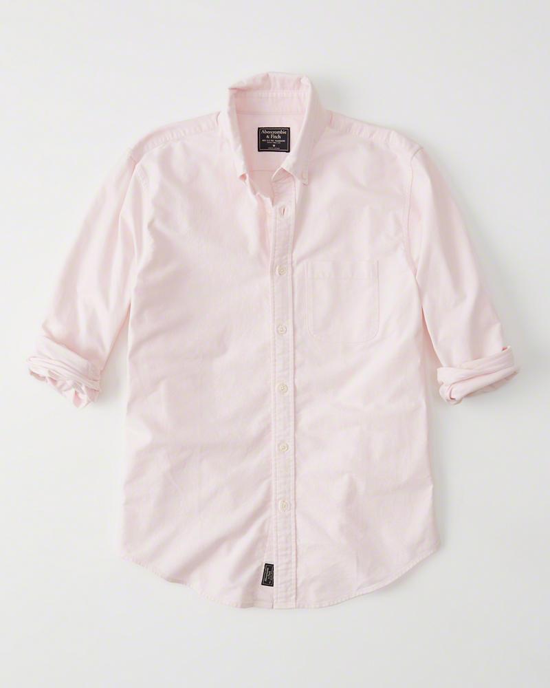 正規直営店より直接買い付け Abercrombie 日本製 Fitch アバクロンビー フィッチ オックスフォードシャツ Oxford メンズ 新品 Shirt 超激安特価 Pink 長袖