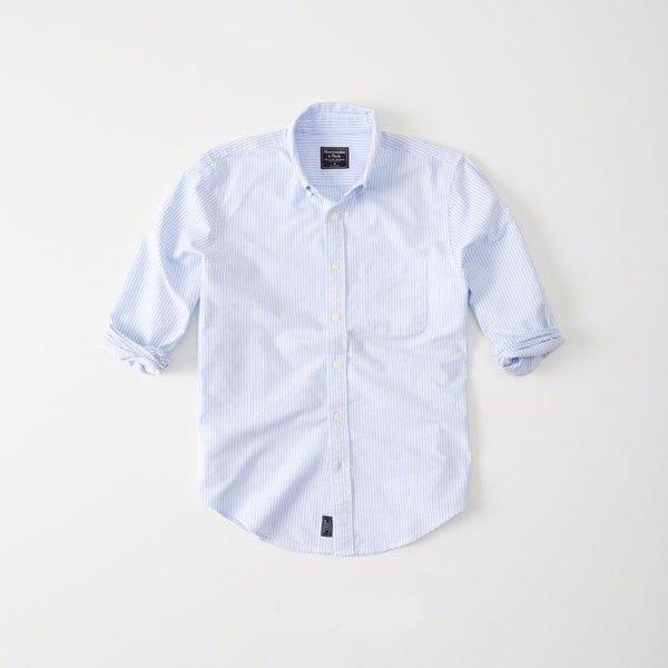 Abercrombie&Fitch (アバクロンビー&フィッチ) オックスフォードシャツ(長袖)(Oxford Shirt) メンズ (Blue Stripe) 新品