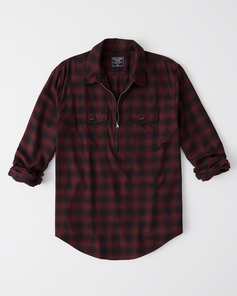 正規直営店より直接買い付け 国内正規品 Abercrombie Fitch アバクロンビー フィッチ ストレッチ ハーフジップ 売店 チェックシャツ 長袖 メンズ Red Shirt Plaid Half-Zip 新品