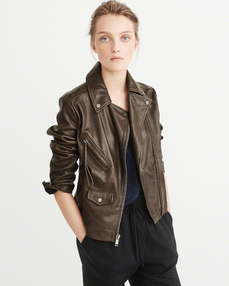 【新品】アバクロ【Womens】本皮 ライダースジャケット/Brown【Leather Biker Jacket】【Abercrombie&Fitch】【本物保証】【レディース】
