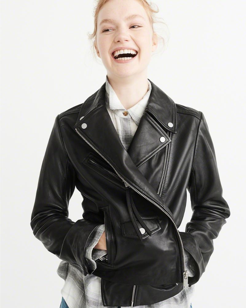 Abercrombie&Fitch (アバクロンビー&フィッチ) 正規品 本皮 ライダースジャケット (革ジャン) (Leather Biker Jacket) レディース (Black) 新品