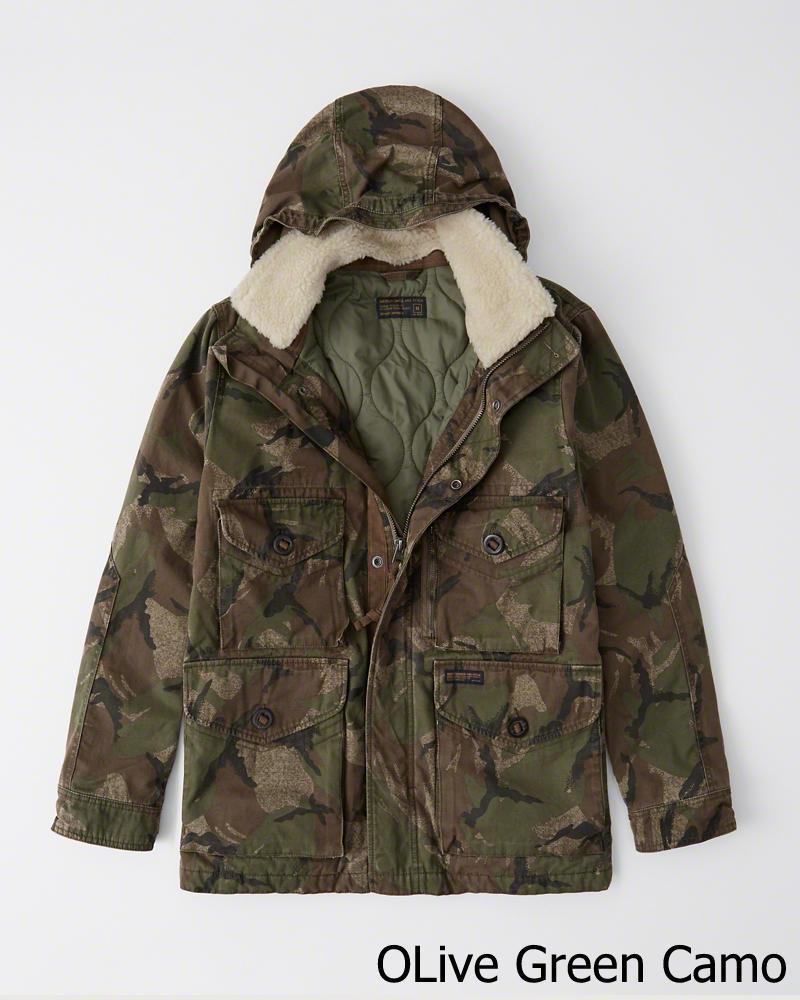 【新品】アバクロ【Mensメンズ】シェルパ取り外し可能 ミリタリーコンバットジャケット(長袖)/Olive Green Camo【Removable Sherpa Camo Combat Jacket】【Abercrombie&Fitch】【本物保証】
