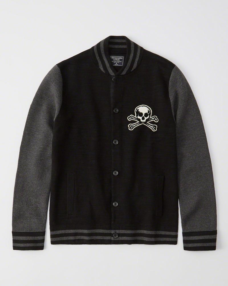 【新品】【日本未発売】アバクロ【Mensメンズ】ボンバー セーター ジャケット/Black【Bomber Sweater Jacket】【Abercrombie&Fitch】【本物保証】