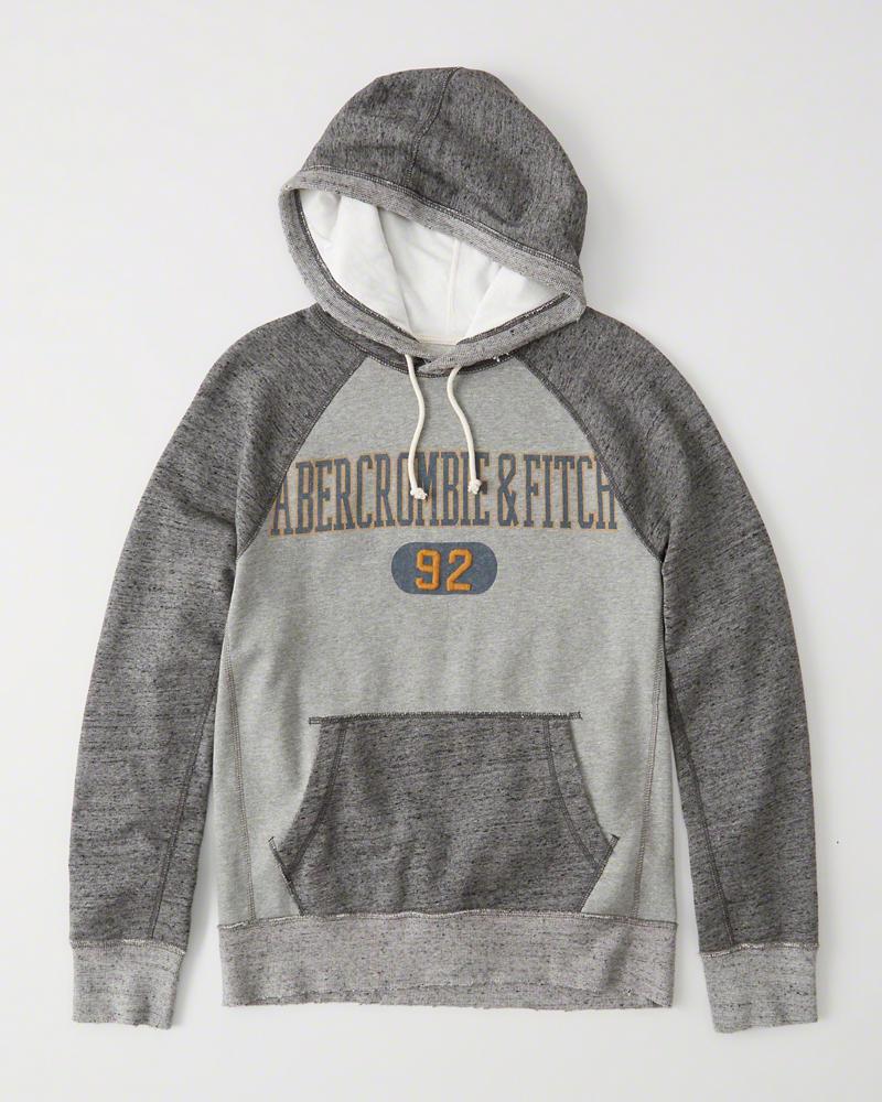 Abercrombie&Fitch (アバクロンビー&フィッチ) ディコンストラクト ロゴ プルオーバー パーカー フーディー(Deconstructed Logo Hoodie) メンズ (Heather Grey And Grey) 新品