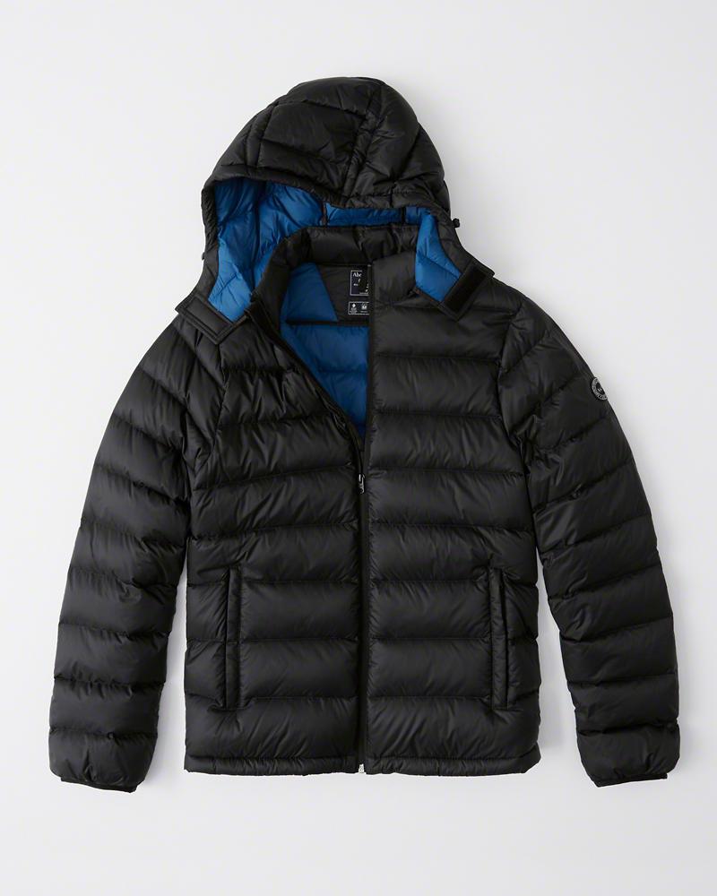 【新品】【USAモデル】アバクロ【Mensメンズ】取り外し可能フード パッカブルパファージャケット/Black【Removable Hood Packable Puffer】【Abercrombie&Fitch】【本物保証】