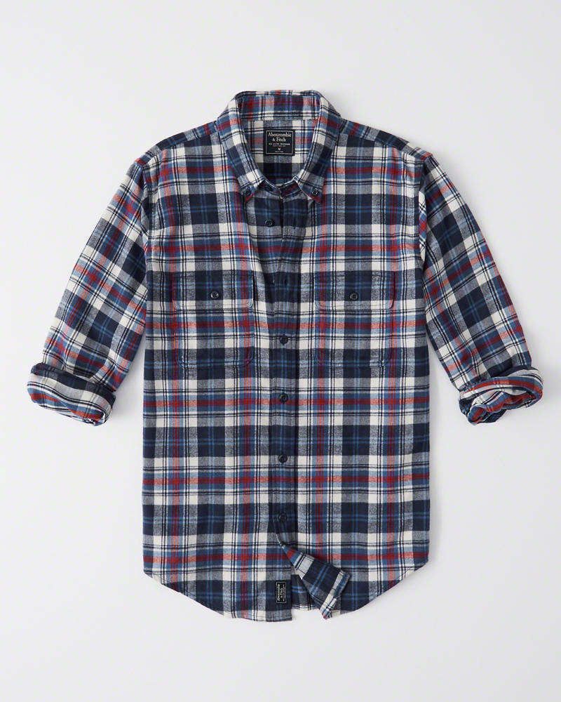 Abercrombie&Fitch (アバクロンビー&フィッチ) フランネルシャツ (ネルシャツ) (Flannel Shirt) メンズ (Blue and Red Plaid) 新品
