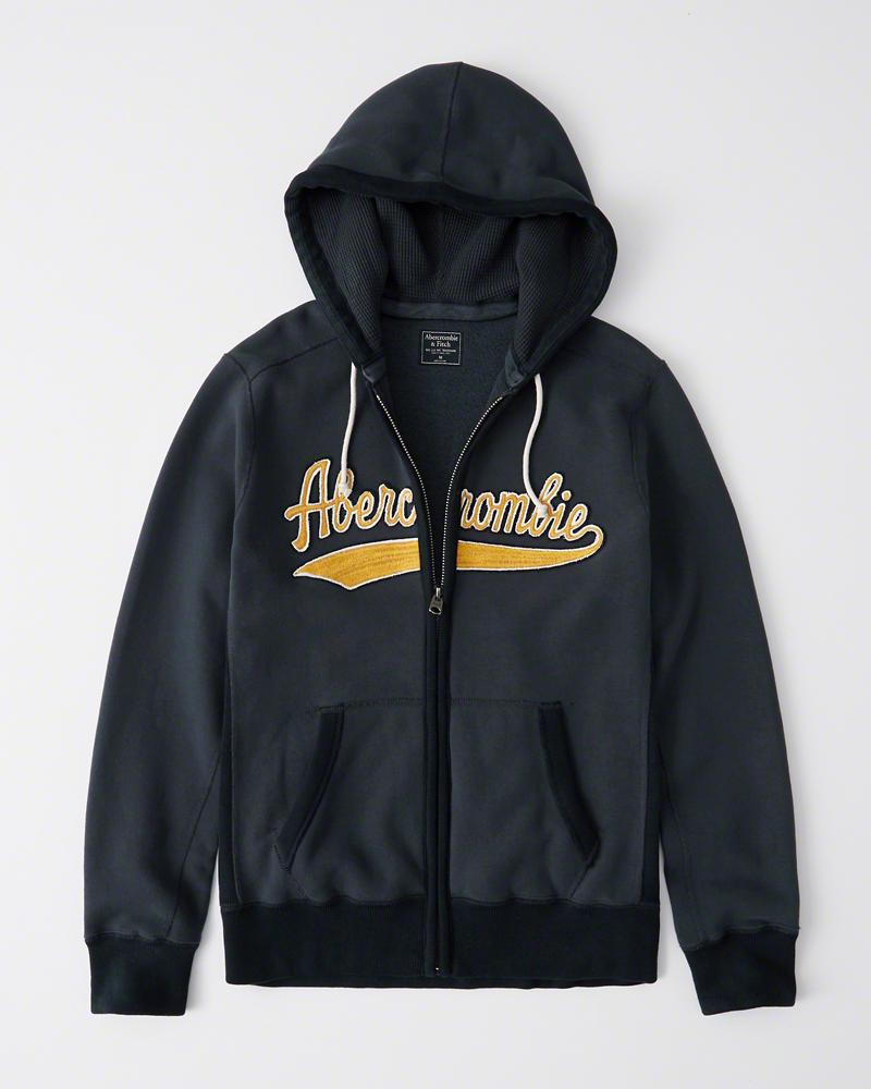 【新品】【日本未発売】アバクロ【Mensメンズ】ヘビーウエイト フルジップパーカー/Navy【Heavyweight Heritage Logo Full-Zip Hoodie】【Abercrombie&Fitch】【本物保証】