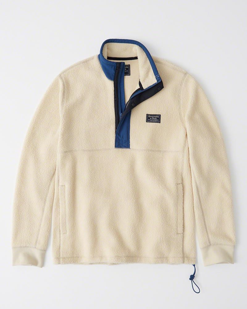 【新品】アバクロ【Mensメンズ】ハーフジップ フリースジャケット/Cream【Sherpa Half-Zip Sweatshirt】【Abercrombie&Fitch】【本物保証】