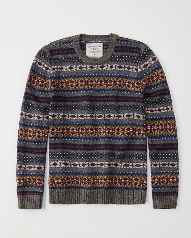 Abercrombie&Fitch (アバクロンビー&フィッチ) ノルディック柄 クルーネックセーター (Cozy Crew Sweater) メンズ (Grey Pattern) 新品